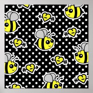Cute Bumble Bee Yellow and Black Polka Dot Poster