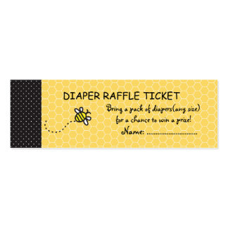 Cute Bumble Bees Diaper Raffle Business Cards