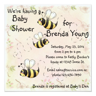 Cute Bumble Bees Flower Country Shower Card