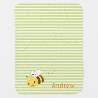 Cute Bumblebee Custom Personalized Baby's Name Baby Blanket