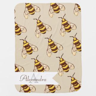 Cute Bumblebees & Baby's Name Baby Blanket