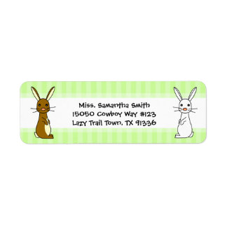 Cute Bunnies Green Stripe Return Address Labels