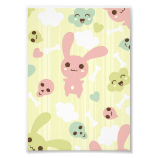 Cute Bunnies Pattern Photographic Print