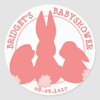 Cute Bunnies Personalized Baby Shower Sticker