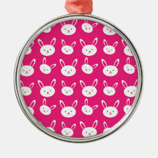 Cute Bunnies Silver-Colored Round Decoration