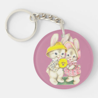 Cute bunnies Single-Sided round acrylic key ring