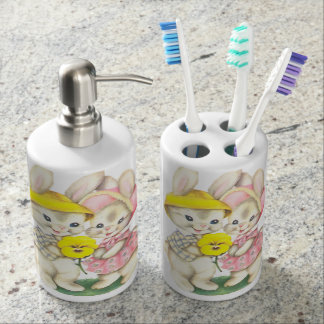 Cute bunnies soap dispenser and toothbrush holder