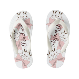 Cute Bunnies w/ Pink Ribbons Kids Name Girls Kid's Thongs