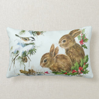 Cute Bunnies with Christmas Holly Berries Lumbar Cushion
