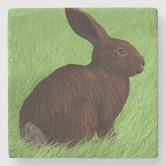 Cute Bunny Alert in the Grass Stone Coaster