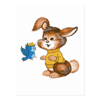 Cute Bunny and Bluebird Postcard