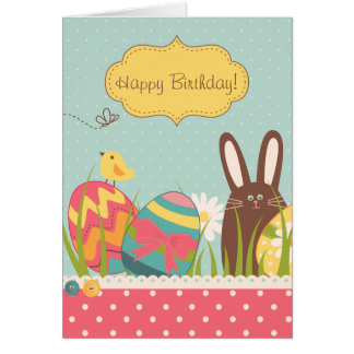 Cute Bunny and Colorful Easter Eggs Happy Birthday Card