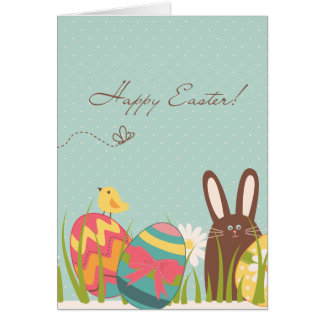 Cute Bunny and Decorated Eggs Happy Easter Card
