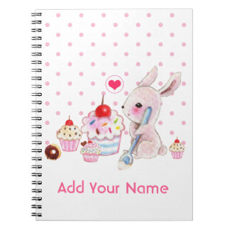 Cute bunny and kawaii cupcakes - Personalized Notebook
