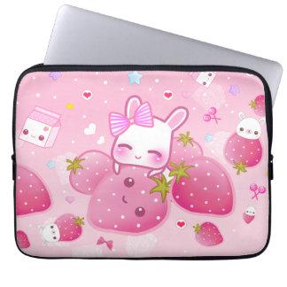 Cute bunny and kawaii strawberries laptop sleeve