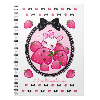 Cute bunny and kawaii strawberries notebooks