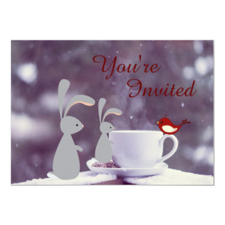 Cute Bunny and Tea Cup in Snow 1st Birthday 13 Cm X 18 Cm Invitation Card