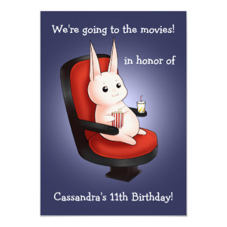 cute bunny Birthday at the movie theater Card