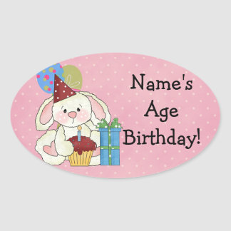 Cute Bunny Birthday Stickers