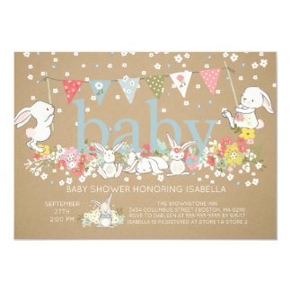 Cute Bunny Boys Baby shower Invitation