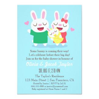 "Cute Bunny Couple Coed Baby Shower Invitations 4.5"" X 6.25"" Invitation Card"