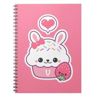 Cute Bunny Cupcake Monogram Notebook