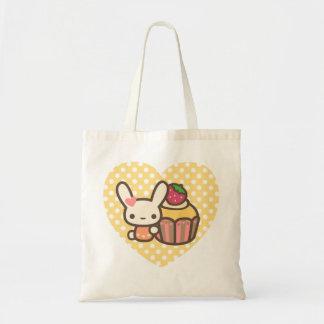 Cute bunny cupcake strawberry pink kawaii budget tote bag