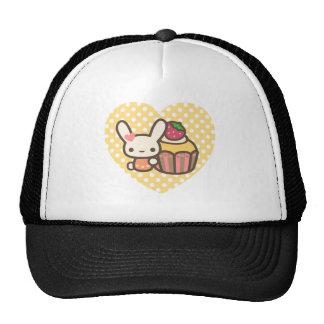 Cute bunny cupcake strawberry pink kawaii hat