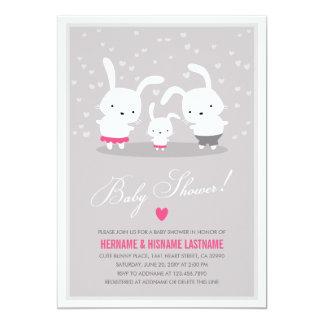 Cute Bunny Family Grey Couples Baby Shower Girl 13 Cm X 18 Cm Invitation Card
