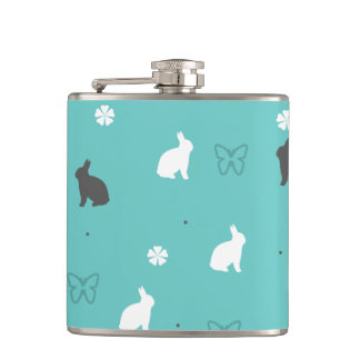 cute bunny flower and butterfly pattern hip flask