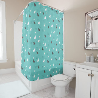 cute bunny flower and butterfly pattern shower curtain