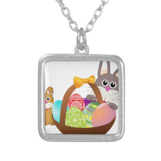 Cute bunny for happy easter day silver plated necklace