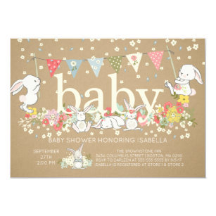 Neutral baby shower invitations zazzle cute bunny gender neutral baby shower invitation filmwisefo