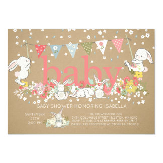 Cute Bunny Girls Baby shower Invitation