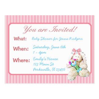 Cute Bunny Girl's Baby Shower Invitation Postcard