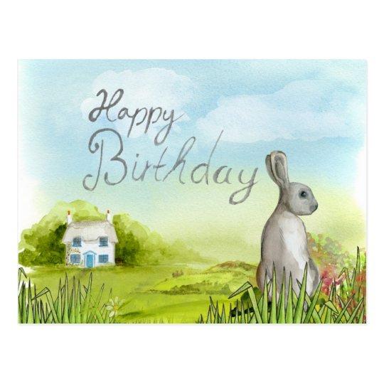 "Cute bunny ""Happy Birthday"" postcard"