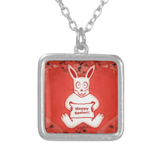 Cute Bunny Happy Easter Drawing Illustration Square Pendant Necklace