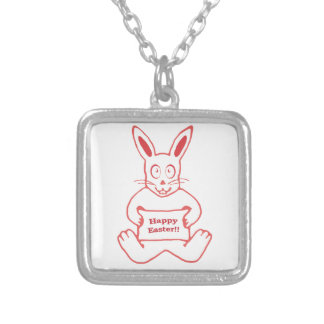 Cute Bunny Happy Easter Drawing in Red ans White Square Pendant Necklace