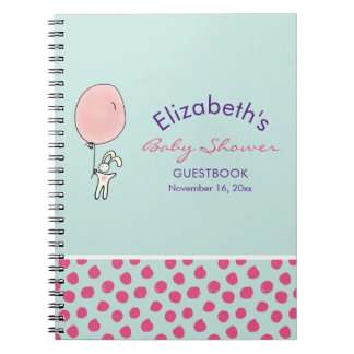 Cute Bunny Holding a Balloon Baby Shower Guestbook Notebook