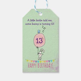 Cute Bunny Holding a Balloon Birthday Gift Tags