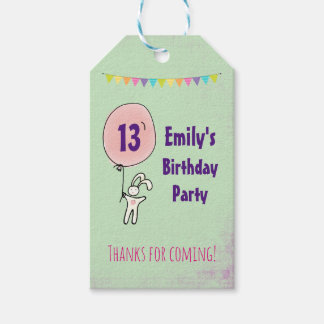Cute Bunny Holding a Balloon Birthday Thank You Gift Tags