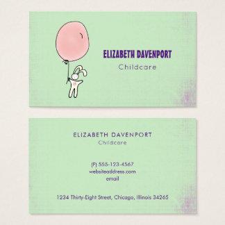 Cute Bunny Holding a Balloon Business Card