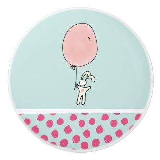 Cute Bunny Holding a Balloon Ceramic Knob