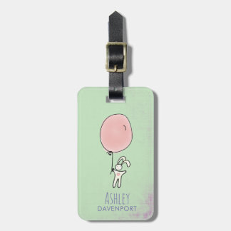 Cute Bunny Holding a Balloon Luggage Tag