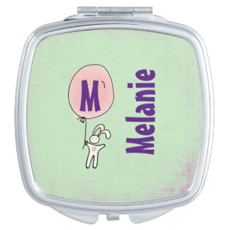 Cute Bunny Holding a Balloon Monogram Vanity Mirrors