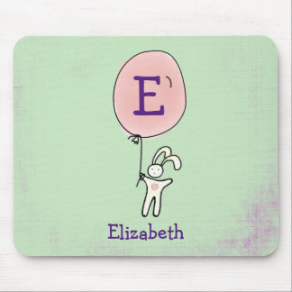 Cute Bunny Holding a Balloon Mouse Pad