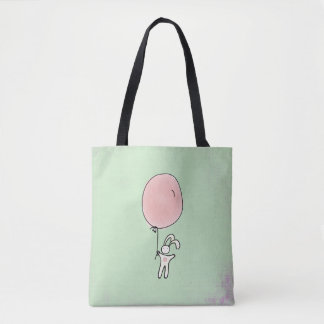 Cute Bunny Holding a Balloon Tote Bag