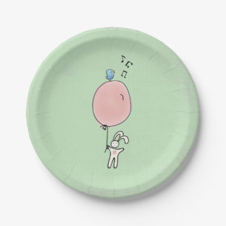 Cute Bunny Holding a Balloon with a Bird on Top Paper Plate