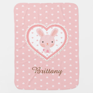 Cute Bunny in Heart Baby Blanket