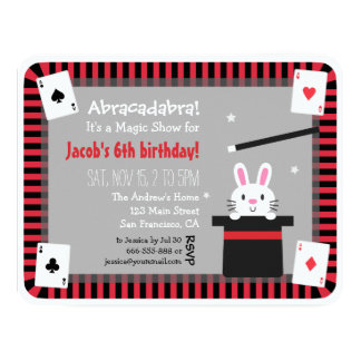 Cute Bunny in Magic Hat Birthday Party Invitations